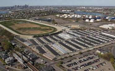 REVERE About one-quarter of the Suffolk Downs property (top and to right of track) is in Revere, and includes part of the track, parking lots, and a 25-acre barn area.